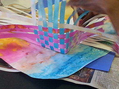 Transitional art - Paper basket weaving in progress