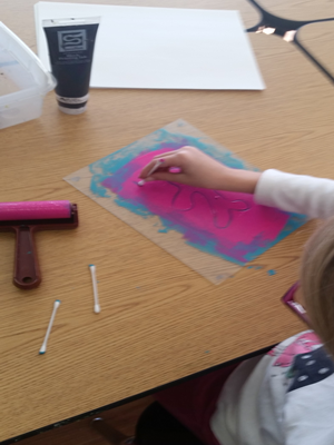 Preschool monoprint in progress