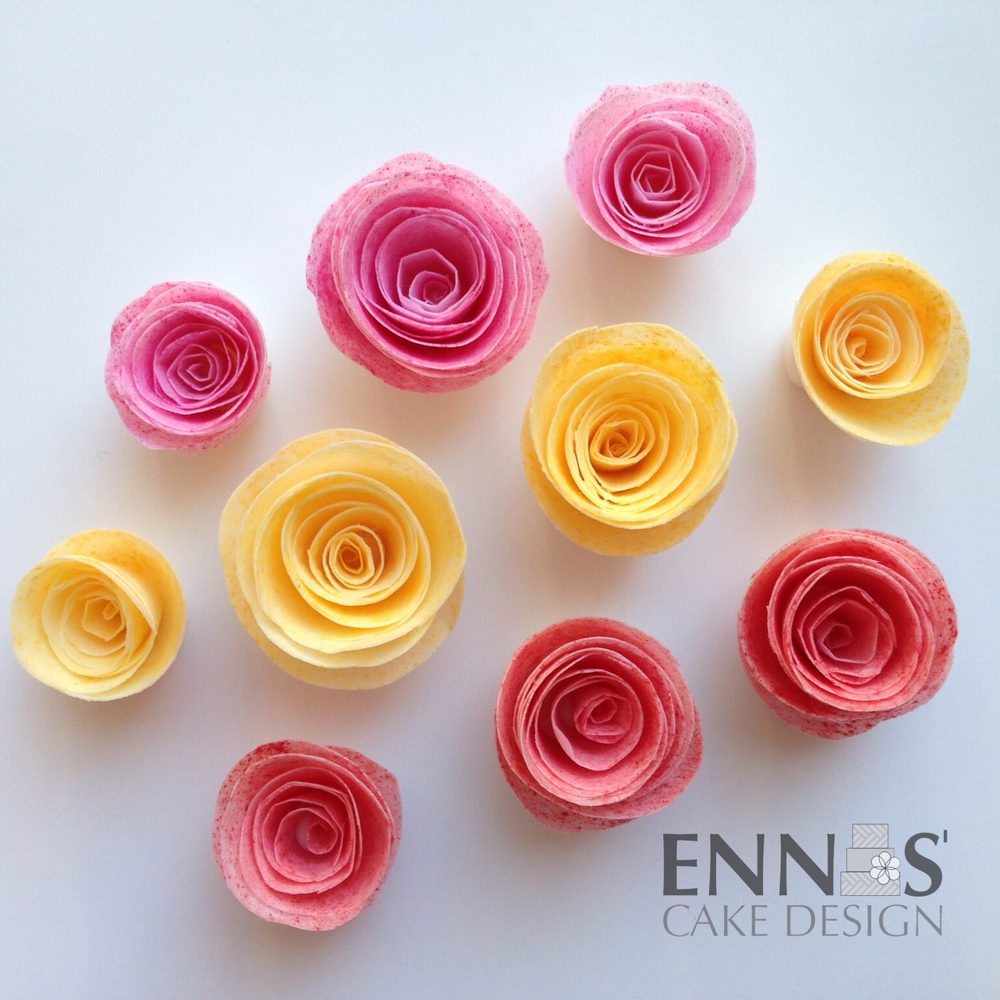 Wafer Paper Rolled Roses, colored with ACP