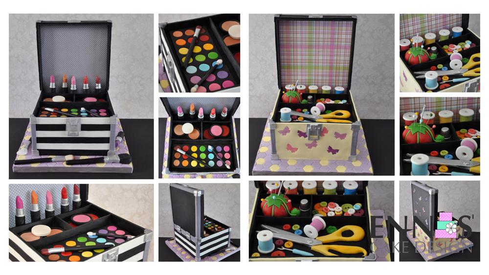 Makeup case to sewing kit cake