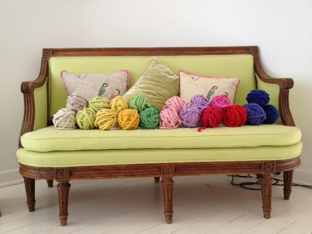 A collection of new trim colours used in the making of Little Dandelion blanket and throws