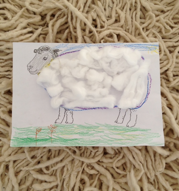 A mixed media artowrk of a sheep by Elodie