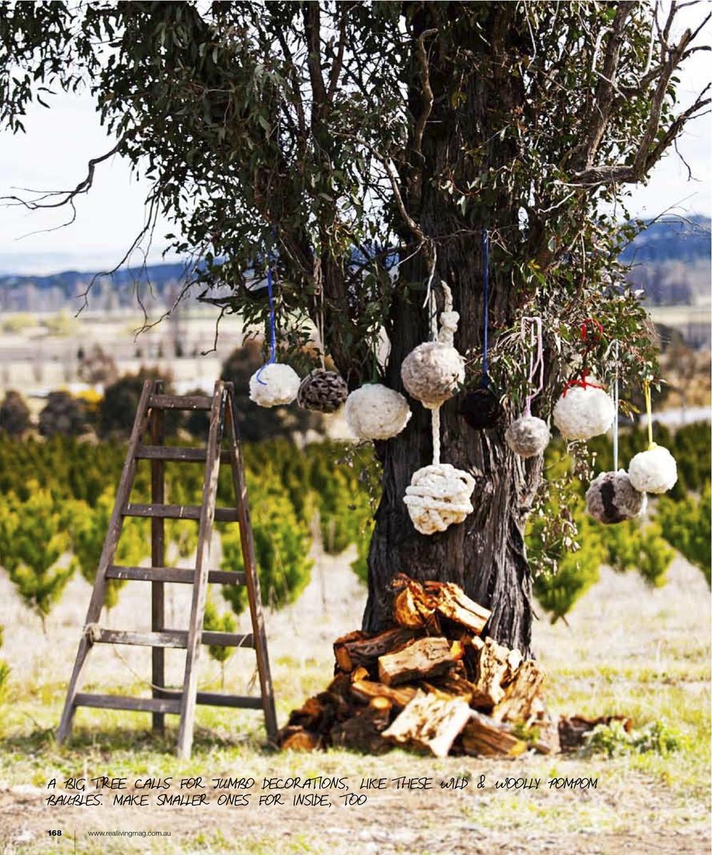 Little Dandelion wool pom poms in Real Living Magazine Christmas 2012