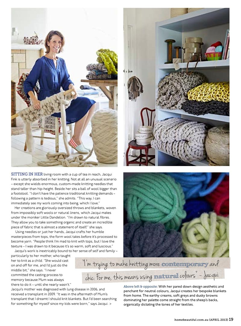 Home Beautiful Feature on Little Dandelion - April 2013