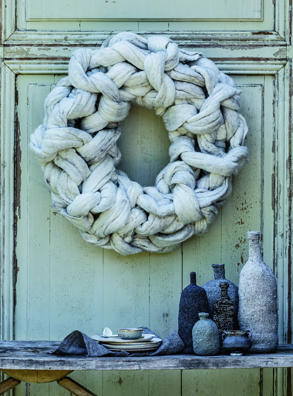 Image by  Felix Forest . Styling by  Claire Delmar . Little Dandelion Christmas Wreath for  Country Style Magazine . The Wreath was won by Sarah in the USA. If your reading this Sarah, please send me a pic of the wreath on your door. I'd love to see it.