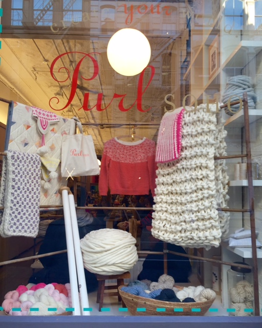 Window at Purl Soho in New York with K1S1 Extreme Knitting yarn and Industrial Needles on display