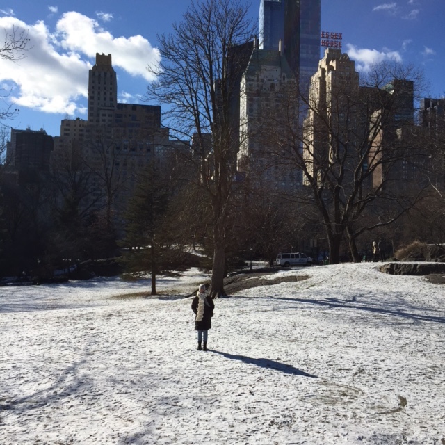 Rugged up in Central Park.