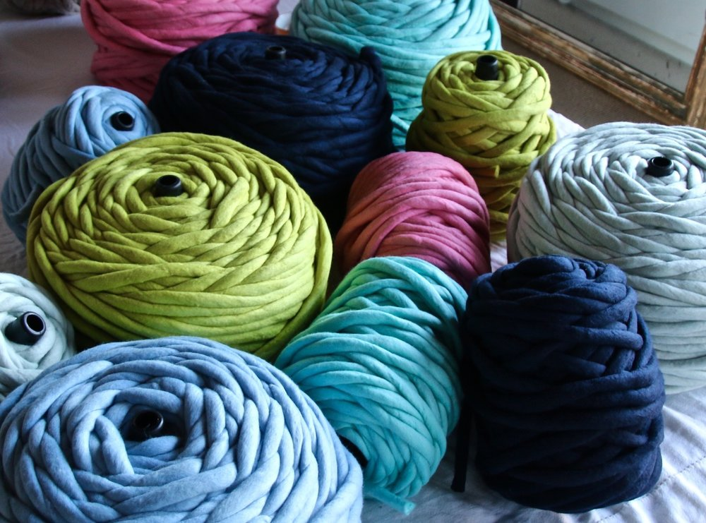 KIS1 Extreme Knitting Yarn in blue, seafood, navy, turquoise, Granny Smith green and coral pink