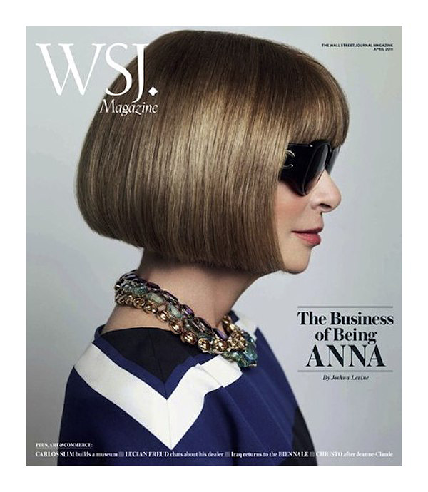 """The Business of Being Anna Wintour""   Wall Street Journal circa 2011 = Anna Wintour + Joshua Levine + Mario Testino   Frocks = Prada + Chanel"