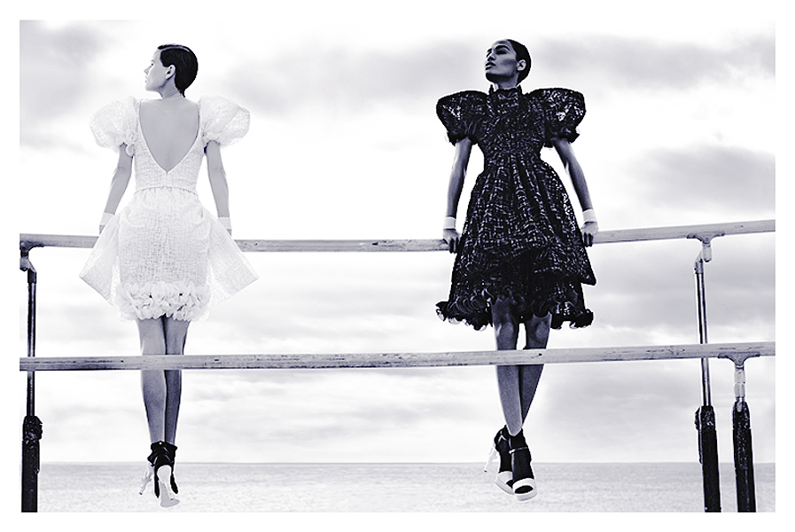 'Chanel 2012 Spring-Summer Ready-to-Wear Campaign' with Joan Smalls + Saskia de Brauw + Carine Roitfeld + Karl Lagerfeld + Hôtel du Cap-Eden-Roc Frocks = Karl Lagerfeld for Chanel
