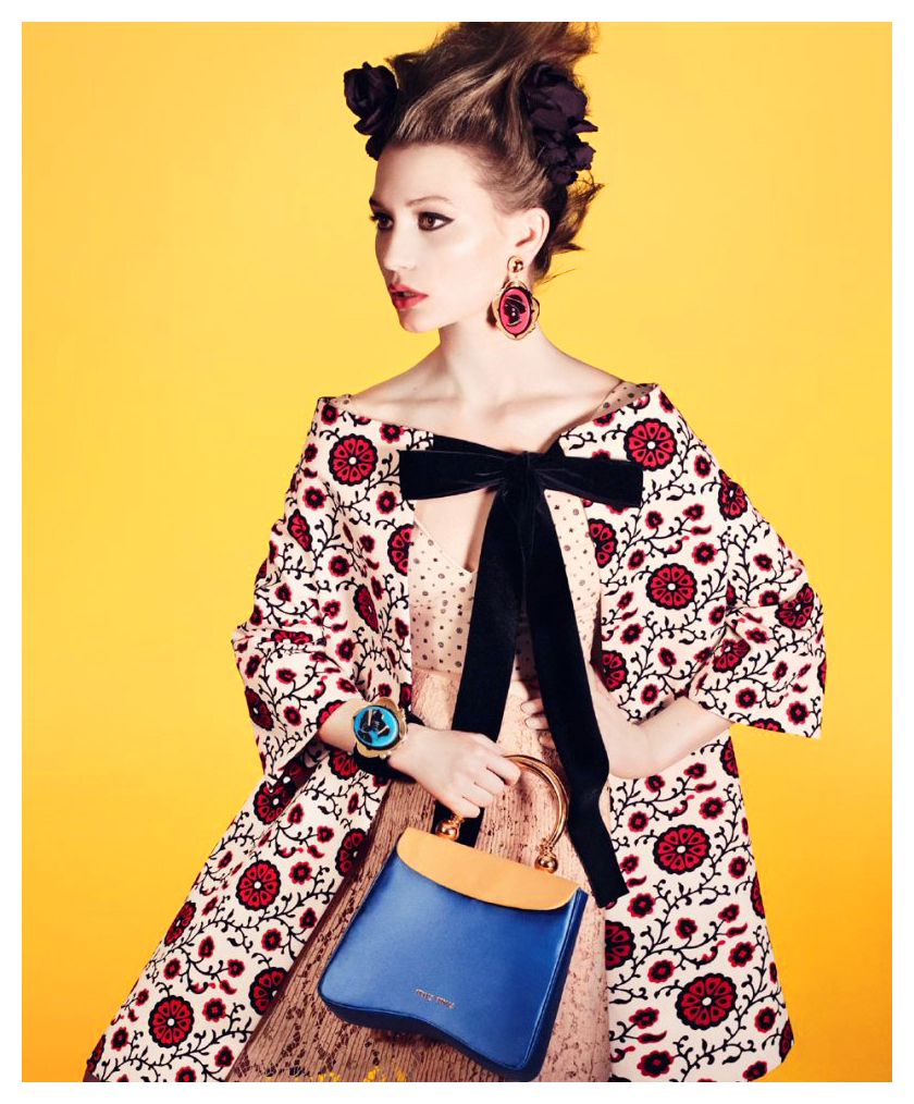"""Miu Miu Spring 2012 Campaign""   with Mia Wasikowska + David Sims   Frocks = Miuccia Prada for Miu Miu"