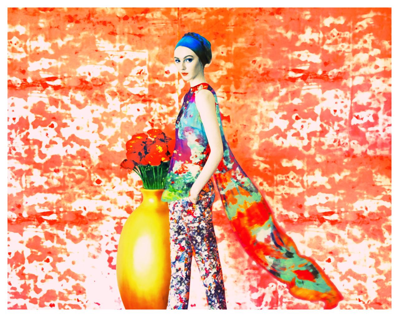 """Mary Katrantzou, Florals""   with Erik Madigan Heck + Mary Cann @ One Management + Heidi Bivens + Eli Metcalf + Tamara McNaughton + Deanna Melluso + Alina Zakaite + Young & Ng + New York + Nomenus Quarterly  Frocks = Mary Katrantzou"
