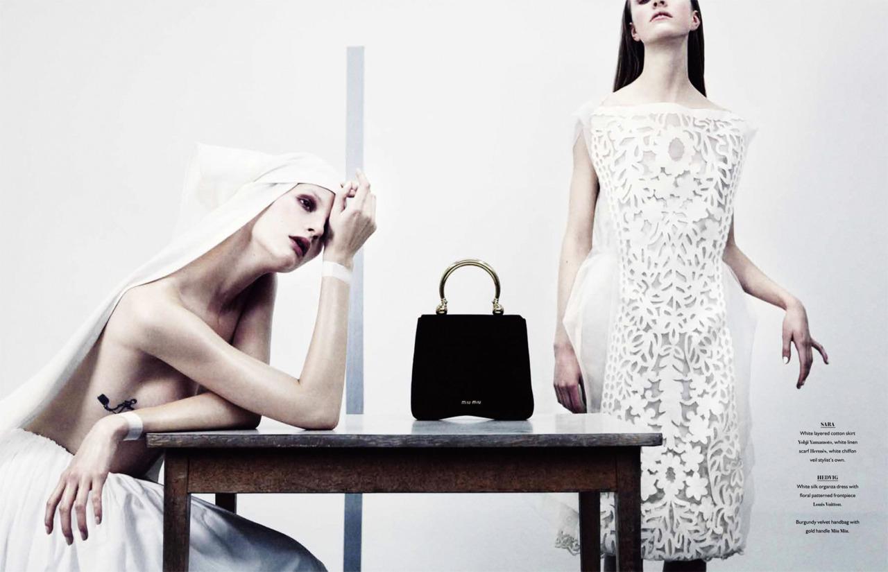 'Pure Desires' with Hedvig Palm + Sara Blomqvist + Naomi Itkes + Marcus Ohlsson + Bon Magazine Frocks = Louis Vuitton + Yohji Yamamoto + Miu Miu