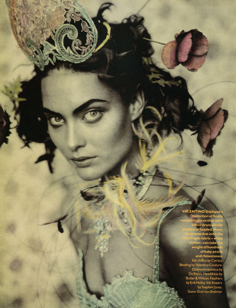 'Rainbow Warriors' with Shalom Harlow + Julien d'Ys + Pat McGrath + Lucinda Chambers + Vogue UK Frocks = Corisia + Valentino Couture + DeBeers + Butler & Wilson + Erik Halley + Stephen Jones