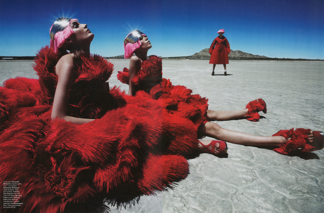 """Fierce Creatures"" with Magda Laguinge + Meghan Collison + Zuzanna Bijoch Dick Page + Lisa Jachno + Jimmy Paul + Edward Enninful + Patrick Demarchelier Frocks = Sarah Burton for Alexander McQueen and Rei Kawakubo for Comme des Garcons"