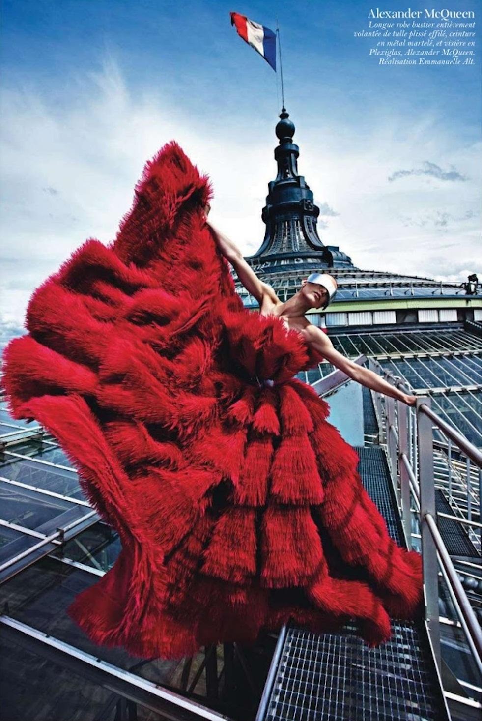 """Paris Mon Amour""   with Ameline Valade + Joe McKenna + Marie Chaix + Emmanuelle Alt + Mario Sorrenti   Frocks = Sarah Burton for Alexander McQueen"