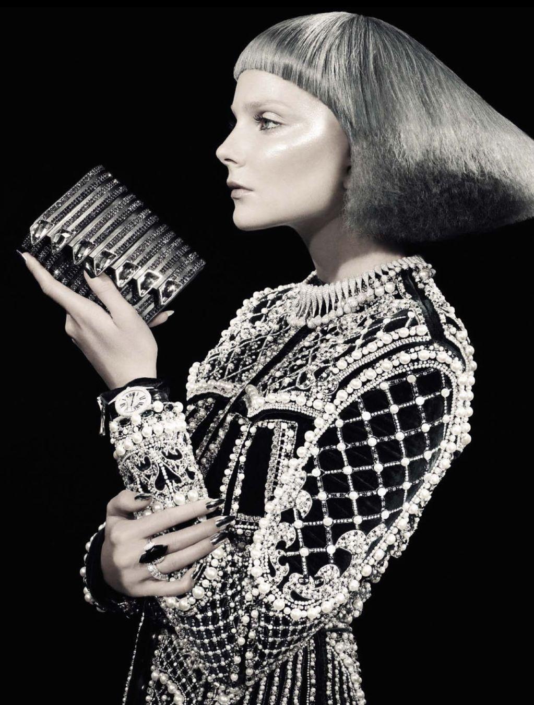 """""""Glitter"""" = Eniko Mihalik + Sara Maino + David Dunan + Vogue Italia Frocks = Balmain + Giorgio Armani + Chopard"""