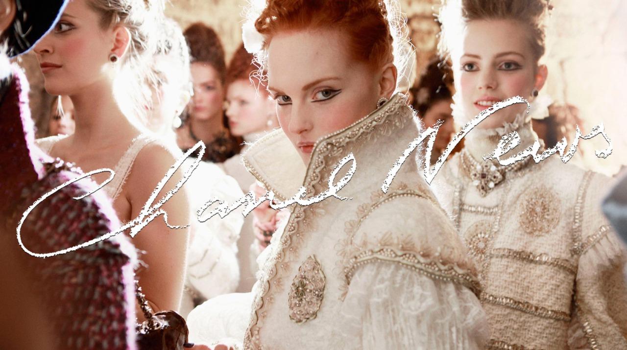 """Chanel Metiers d'Art Paris-Édimbourg 2012/13"" with Mirte Maas + Lula Osterdahl + Agne Konciute + Anastasia Ivanova + Karoline Bjomelykke + Patrycja Gardygajlo + Esther Heesch + Linlithgow Palace Frocks = Karl Lagerfeld for Chanel"