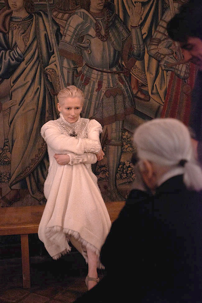 """Behind the Scenes Chanel Pre-Fall 2013"" with Tilda Swinton + Karl Lagerfeld Frocks = Karl Lagerfeld for Chanel"