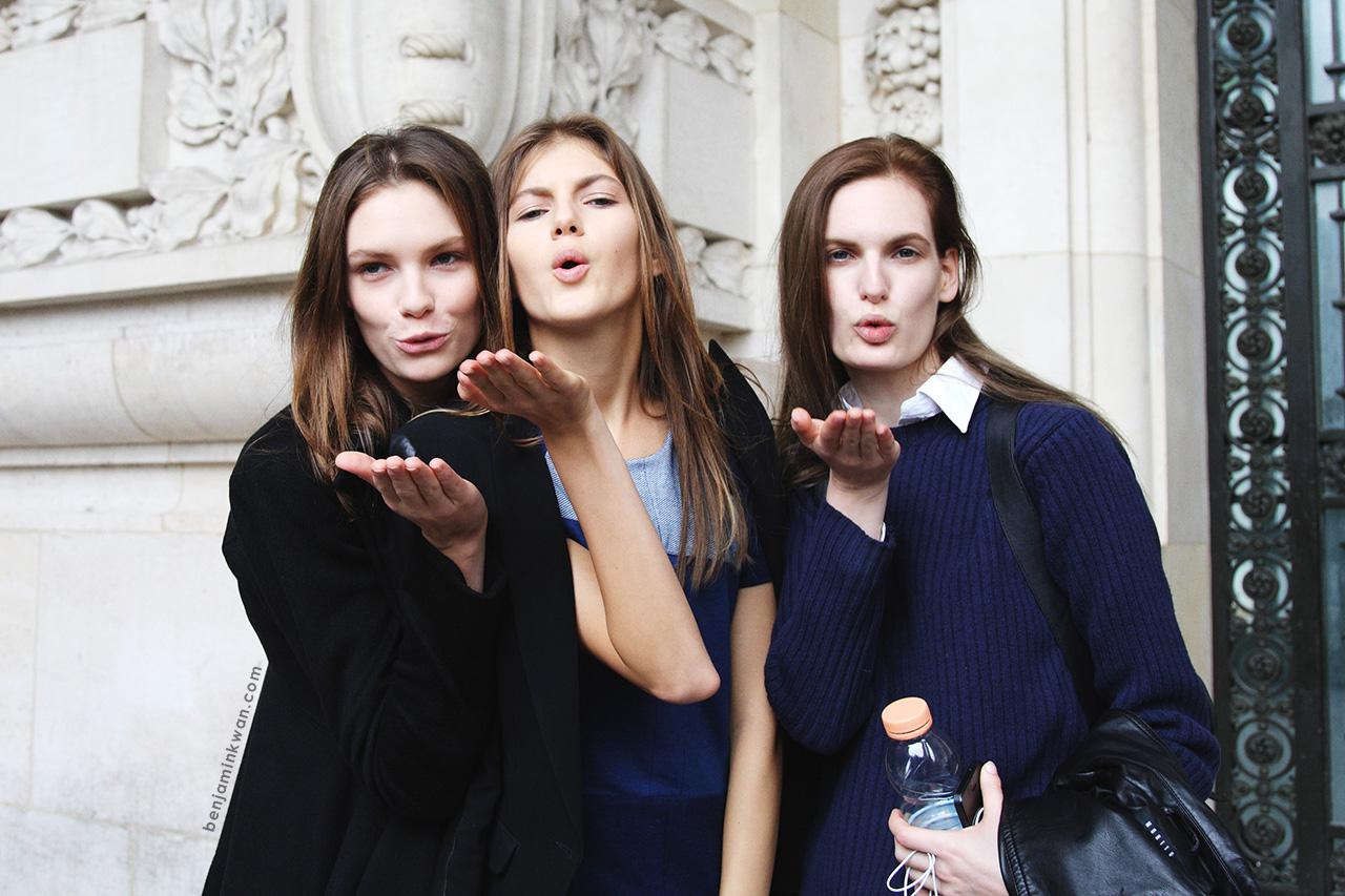 Alexandra Martynova + Valery Kaufman + Carolina Sjostrand at Leonard     SS 2014 Paris Snapped by Benjamin Kwan