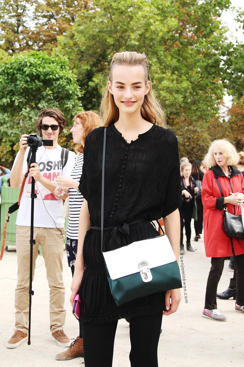 Maartje Verhoef at Viktor & Rolf     SS 2014 Paris Snapped by Benjamin Kwan