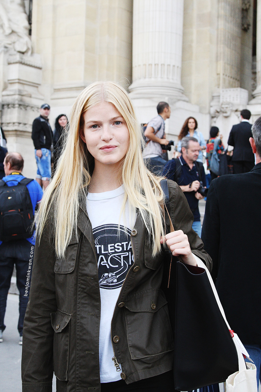 Louise Parker at Vanessa Bruno SS 2014 Paris Snapped by Benjamin Kwan