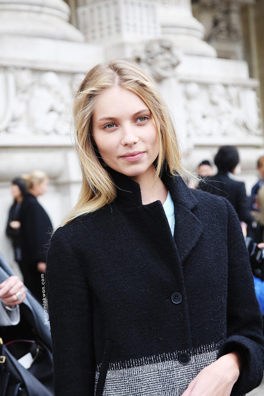 Vika Falileeva at Leonard     SS 2014 Paris Snapped by Benjamin Kwan