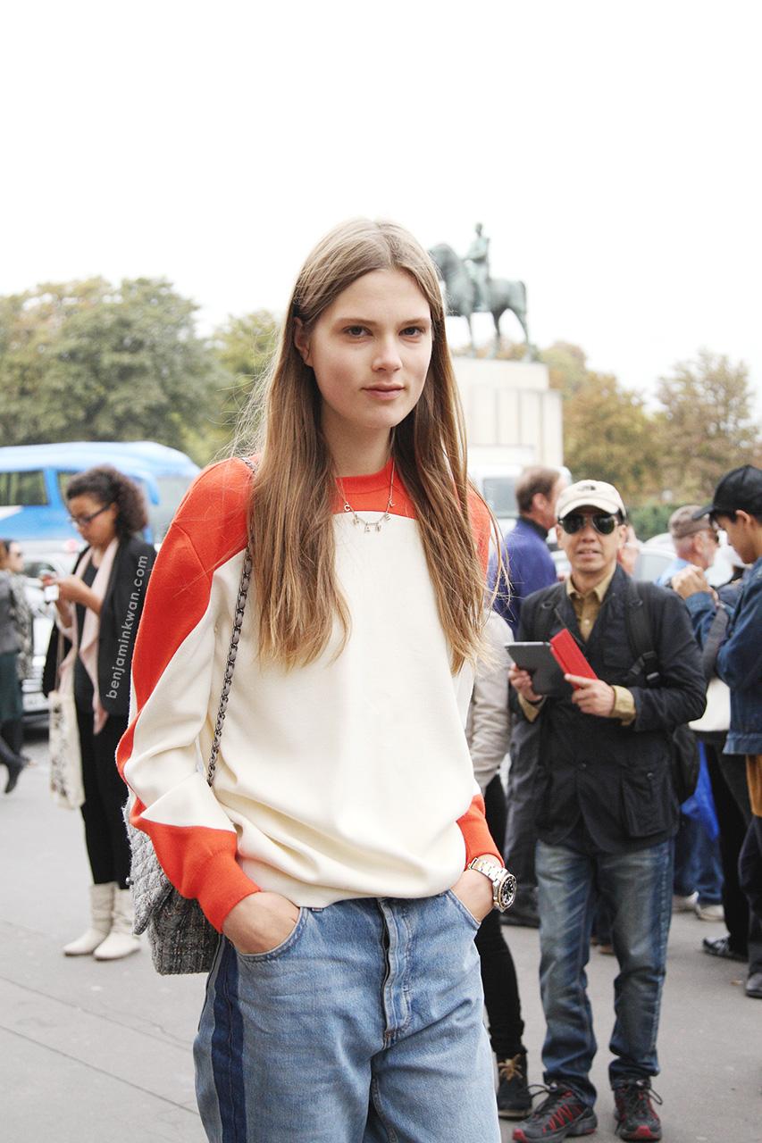 Caroline Brasch Nielsen at Sacai SS 2014 Paris Snapped by Benjamin Kwan
