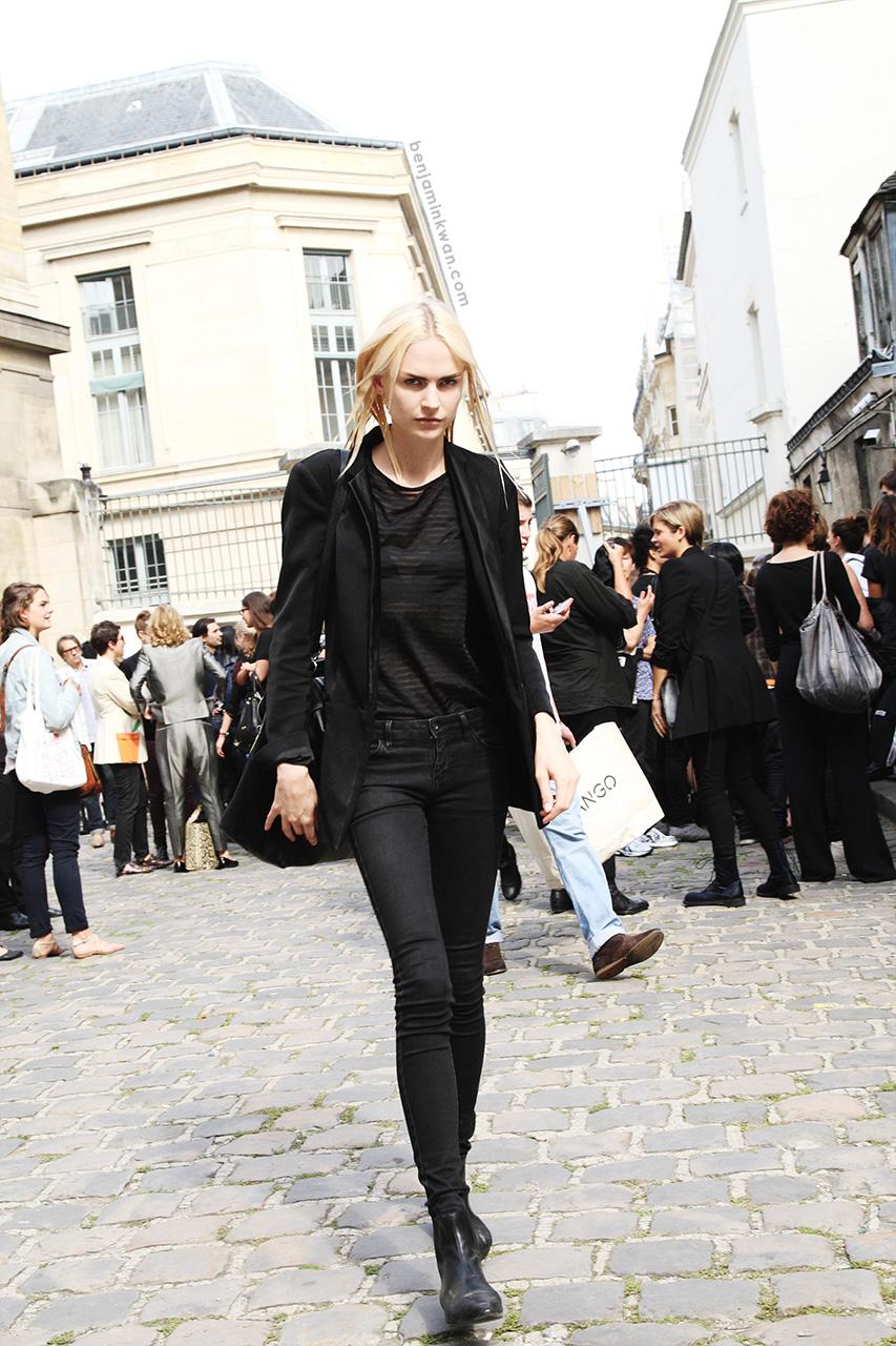 Henna Lintukangas at Ann Demeulemeester SS 2014 Paris Snapped by Benjamin Kwan