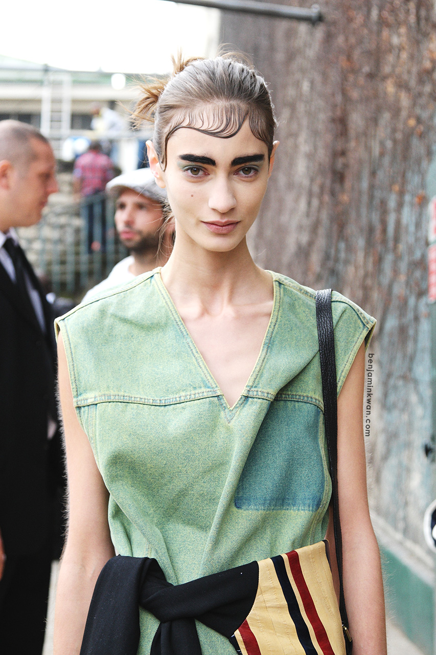 Marine Deleeuw at Celine     SS 2014 Paris Snapped by Benjamin Kwan