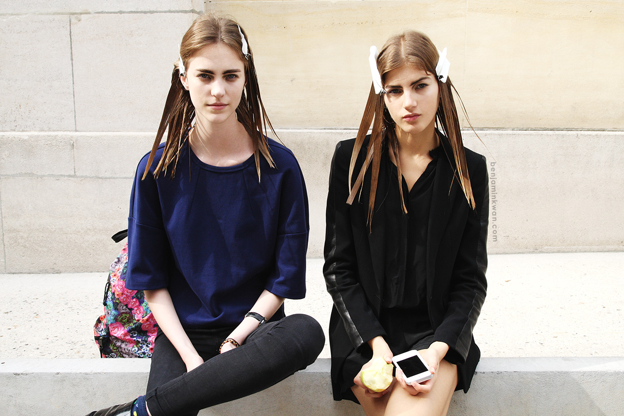 Nicole Pollard and Valery Kaufman at Ann Demeulemeester SS 2014 Paris Snapped by Benjamin Kwan