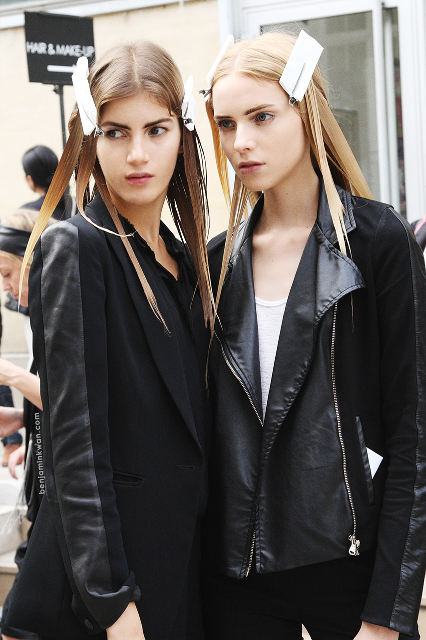 Valery Kaufman and Nastya Zhidkikh at Ann Demeulemeester SS 2014 Paris Snapped by Benjamin Kwan