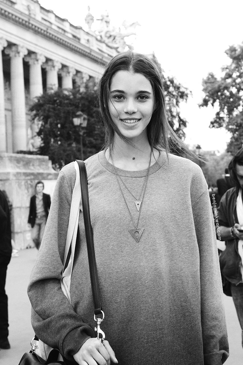 Pauline Hoarau at Vanessa Bruno SS 2014 Paris Snapped by Benjamin Kwan