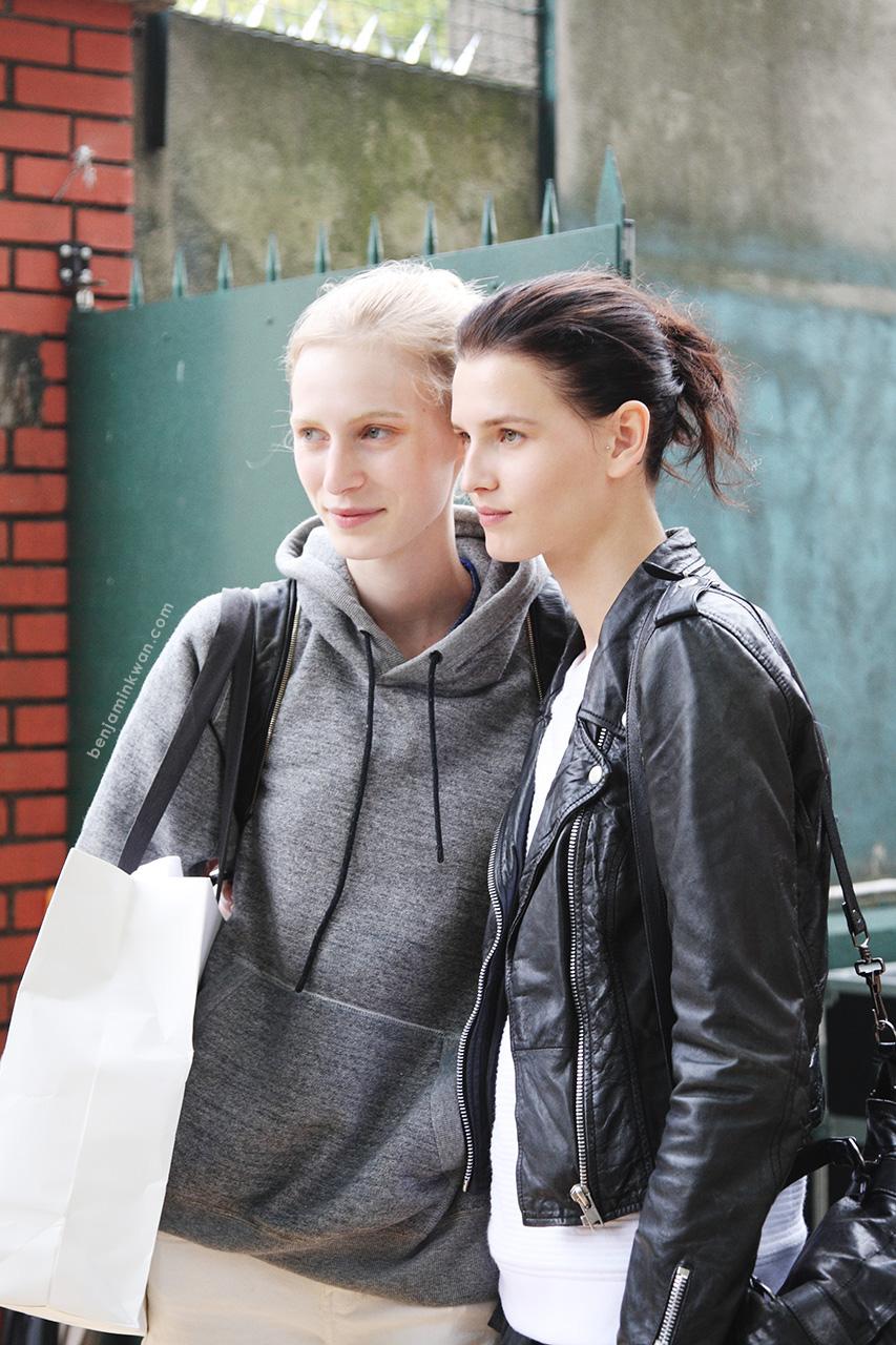 Julia Nobis & Katlin Aas at Celine SS 2014 Paris Snapped by Benjamin Kwan