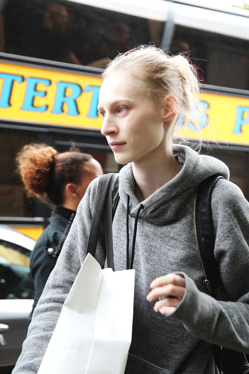 Julia Nobis at Celine SS 2014 Paris Snapped by Benjamin Kwan