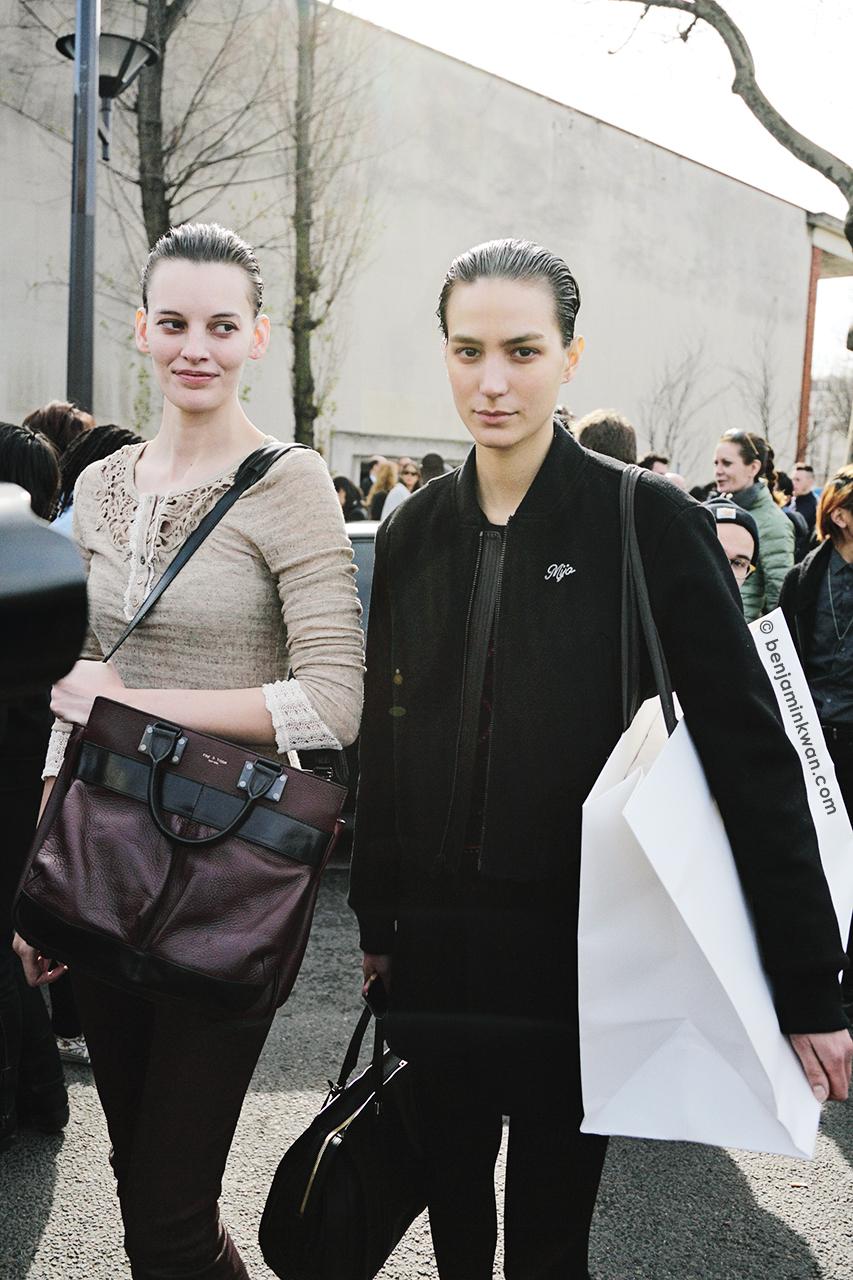 Amanda Murphy and Mijo Mihaljcic at Celine FW 2014 Paris Snapped by Benjamin Kwan Paris Fashion Week