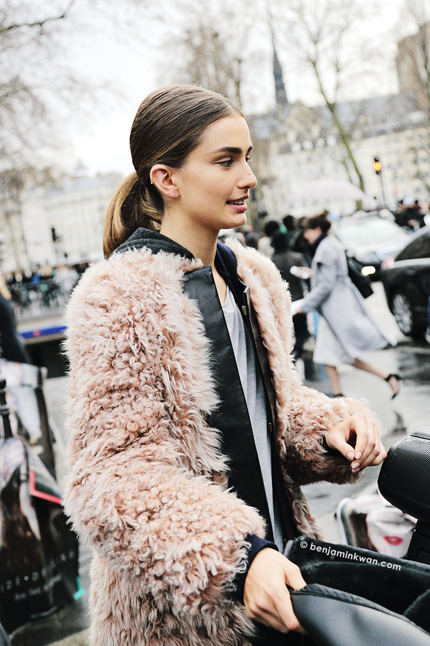 Andreea Diaconu at Balmain FW 2014 Paris Snapped by Benjamin Kwan     Paris Fashion Week