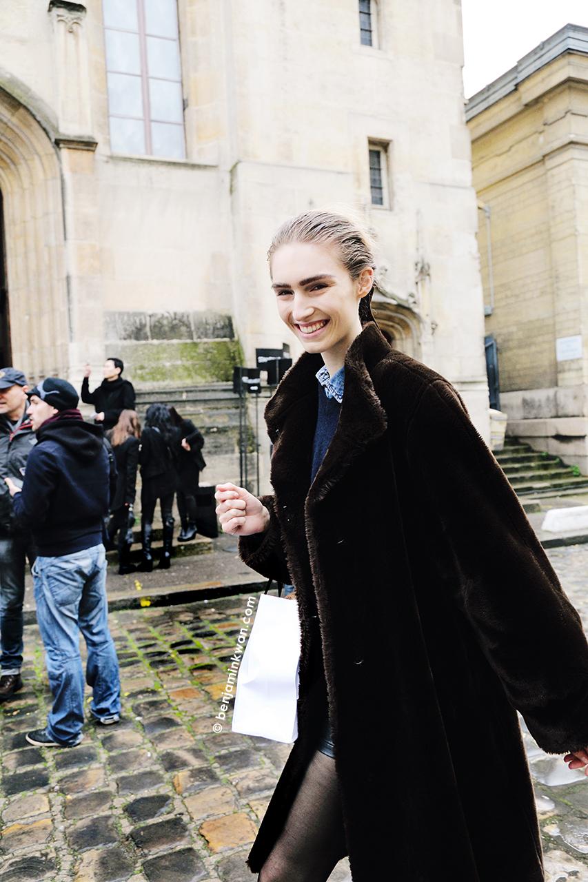 Manuela Frey atAnn Demeulemeester FW 2014 Paris Snapped by Benjamin Kwan Paris Fashion Week