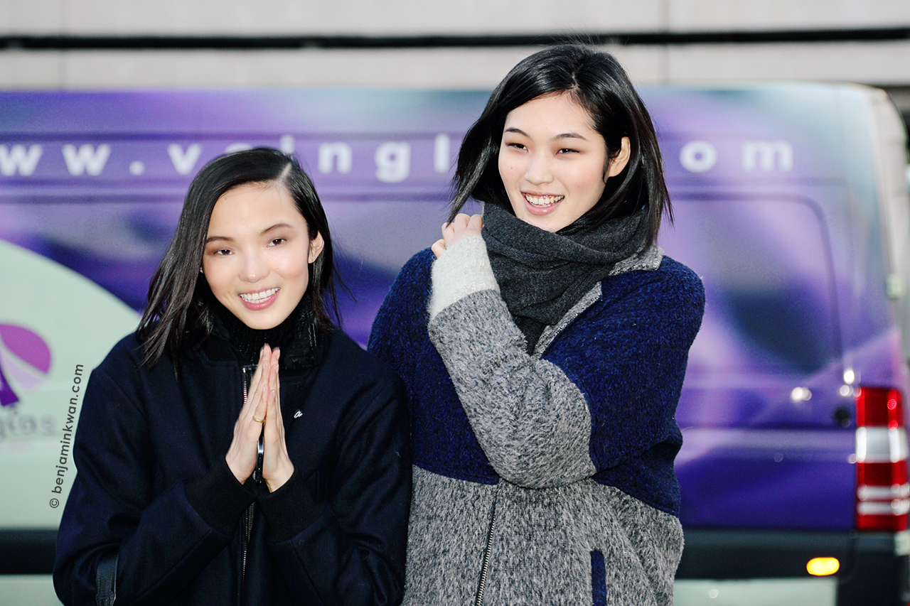 Xiao Wen Ju and Chiharu Okunugi Hermes FW 2014 Paris Snapped by Benjamin Kwan Paris Fashion Week