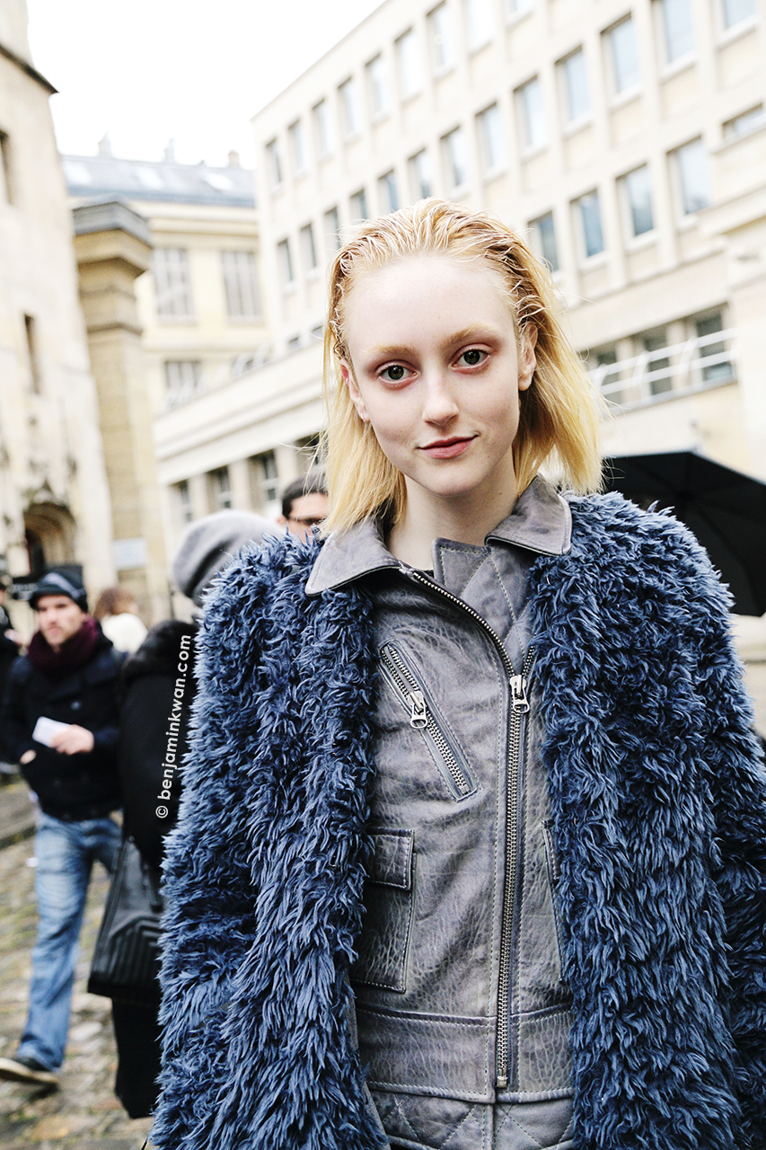 Frances Coombe at Ann Demeulemeester FW 2014 Paris Snapped by Benjamin Kwan     Paris Fashion Week