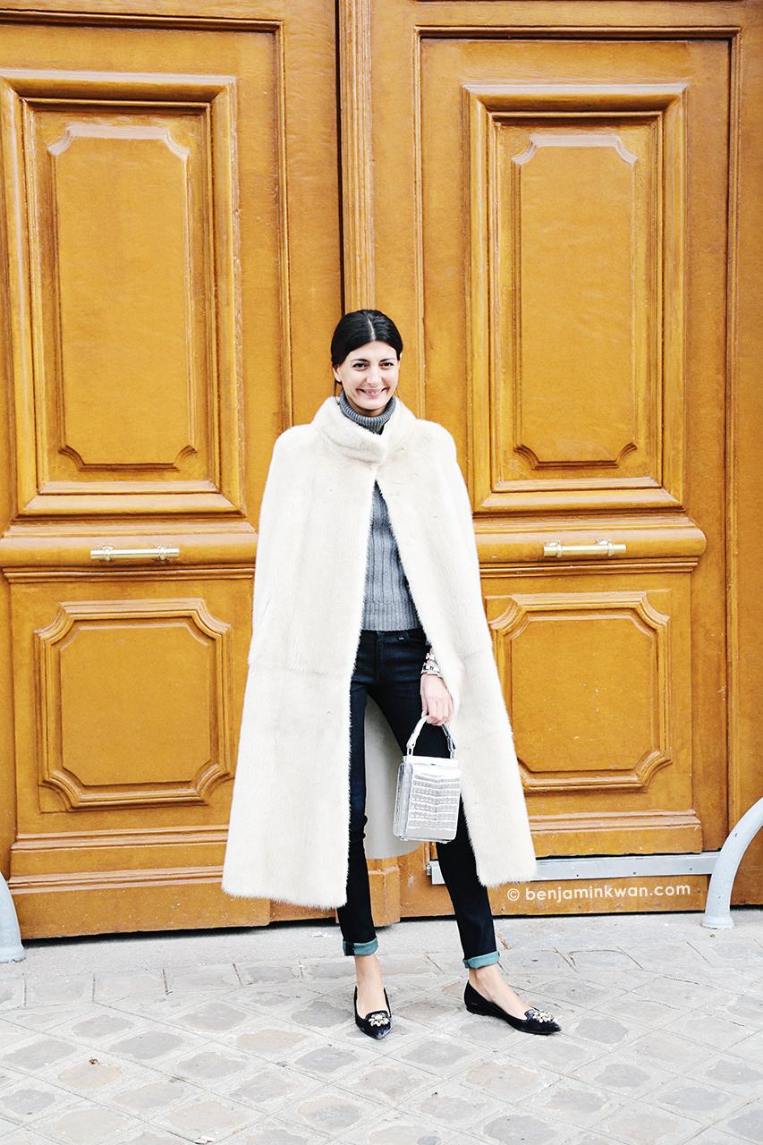 Giovanna Battaglia at Dior FW 2014 Paris Snapped by Benjamin Kwan     Paris Fashion Week