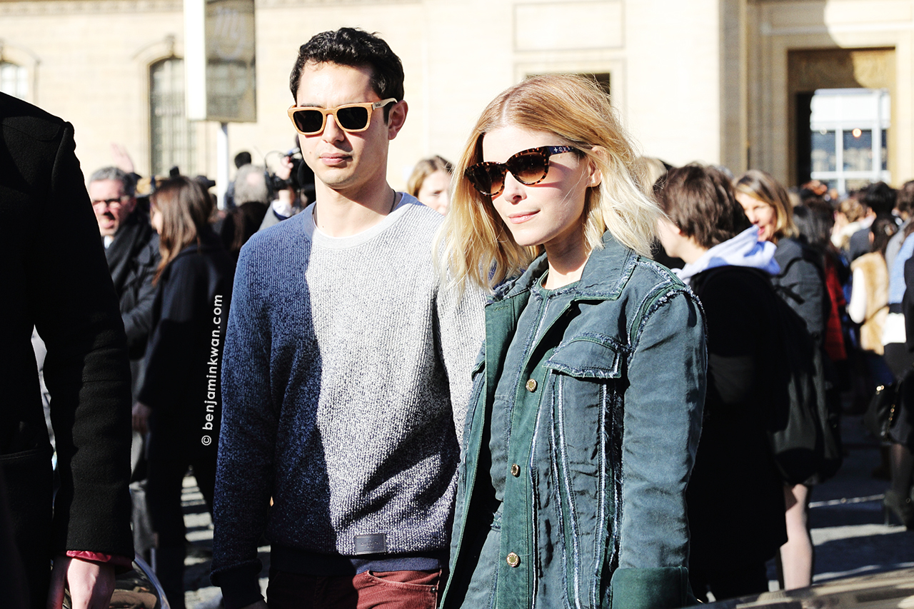 Max Minghella and Kate Mara at Louis Vuitton FW 2014 Paris Snapped by Benjamin Kwan Paris Fashion Week