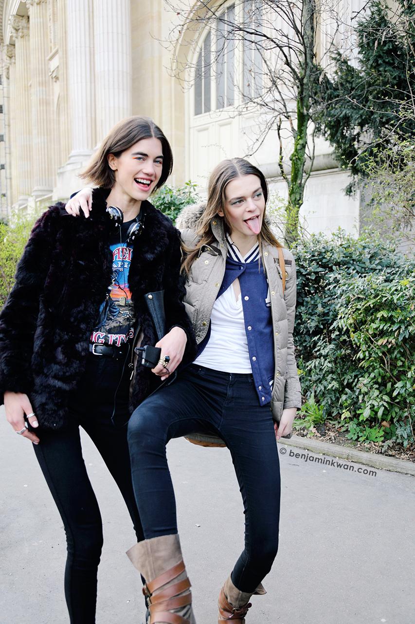 Georgia Graham and Brogan Loftus at Chanel FW 2014 Paris Snapped by Benjamin Kwan    Paris Fashion Week FW 2014