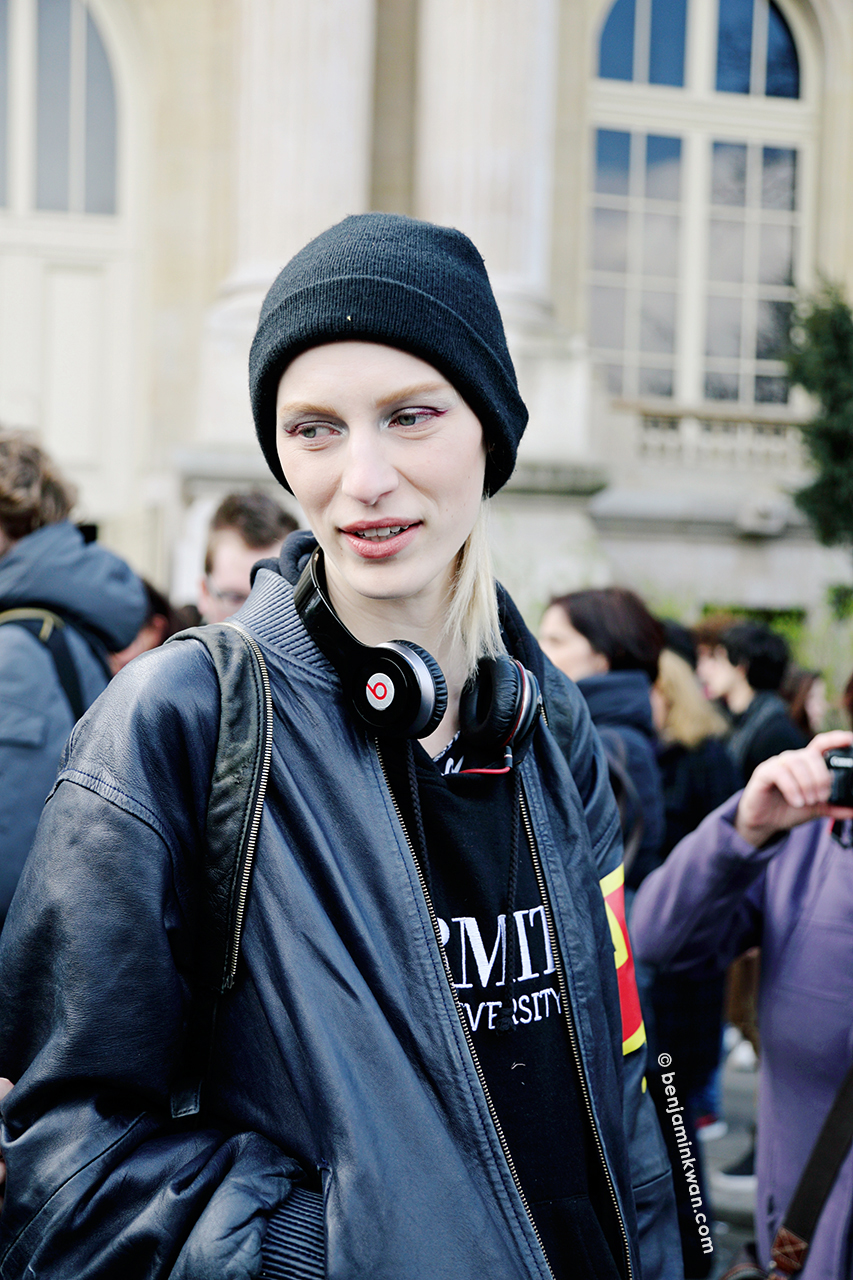 Julia Nobis at Chanel FW 2014 Paris Snapped by Benjamin Kwan Paris Fashion Week
