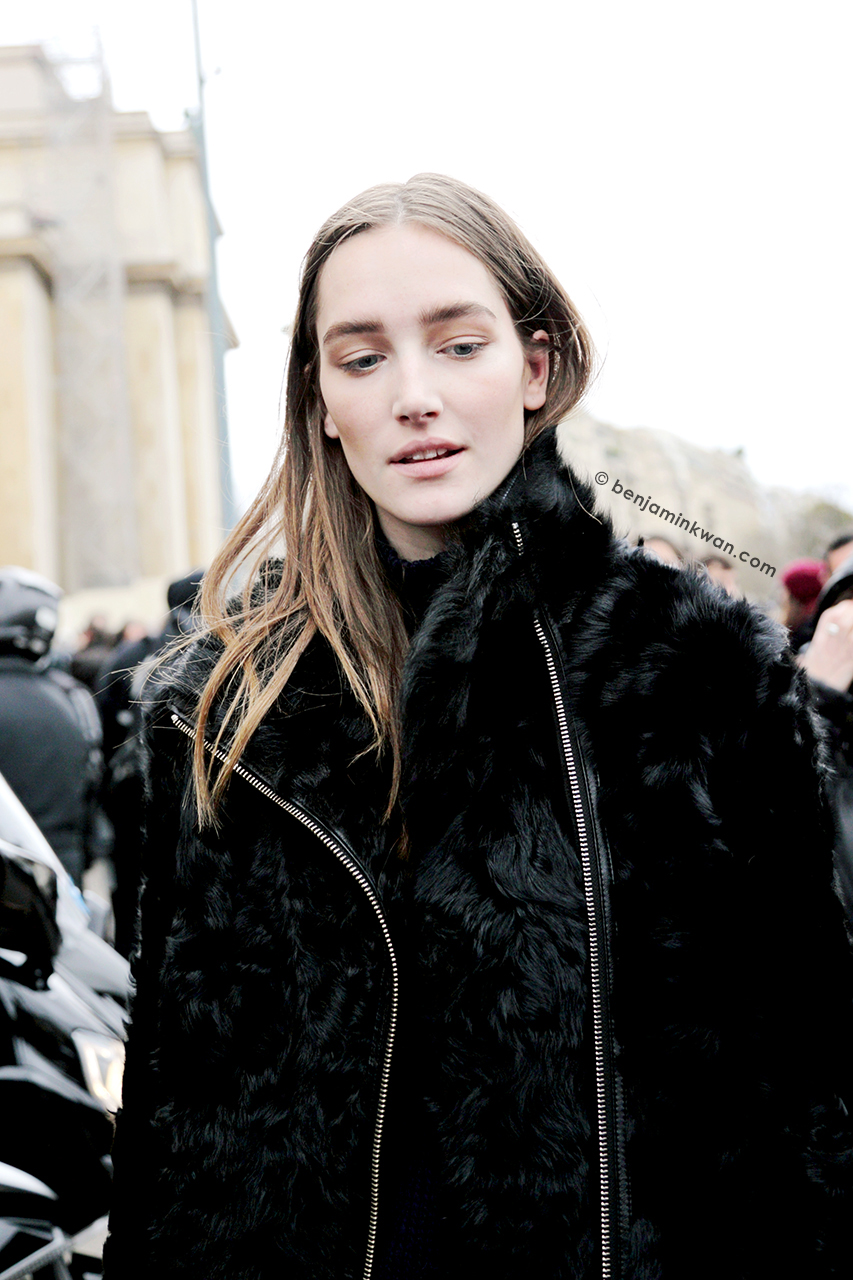 Josephine Le Tutour at Sacai FW 2014 Paris Snapped by Benjamin Kwan     Paris Fashion Week