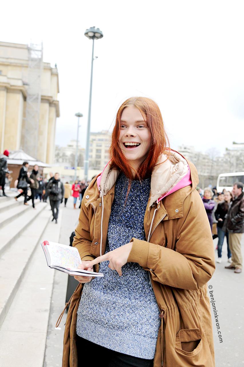 Irina Kravechenko at Sacai FW 2014 Paris Snapped by Benjamin Kwan   Paris Fashion Week