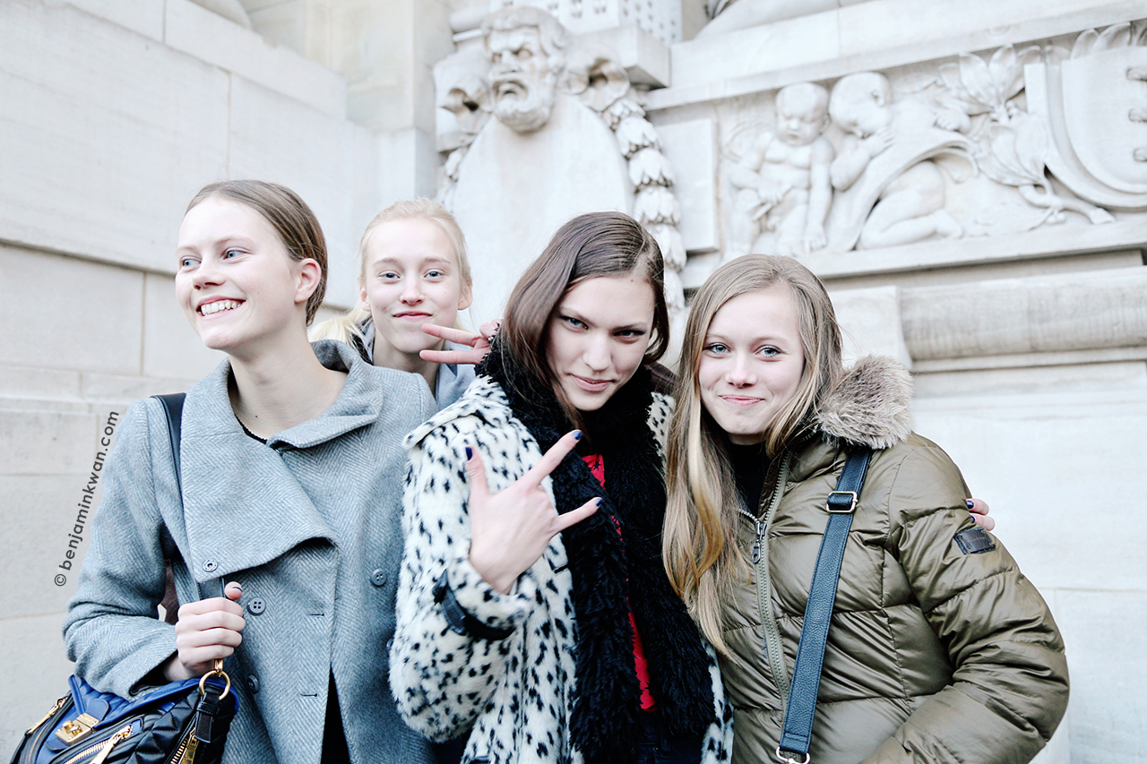 Julie Hoomans, Eva Berzina, Maggie Jablonski and Feline Hoomans at Shiatzy Chen FW 2014 Paris Snapped by Benjamin Kwan     Paris Fashion Week