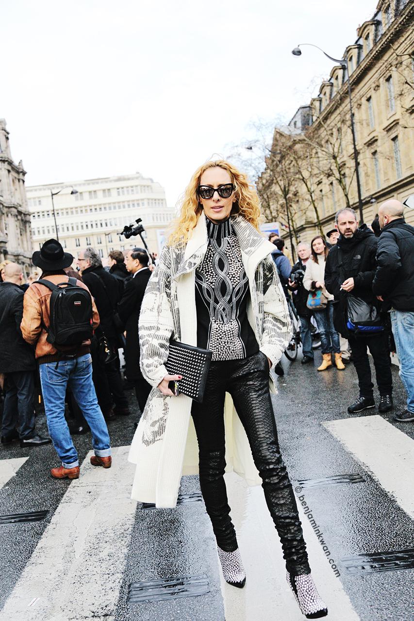 Elina Halimi at Balmain FW 2014 Paris Snapped by Benjamin Kwan Paris Fashion Week