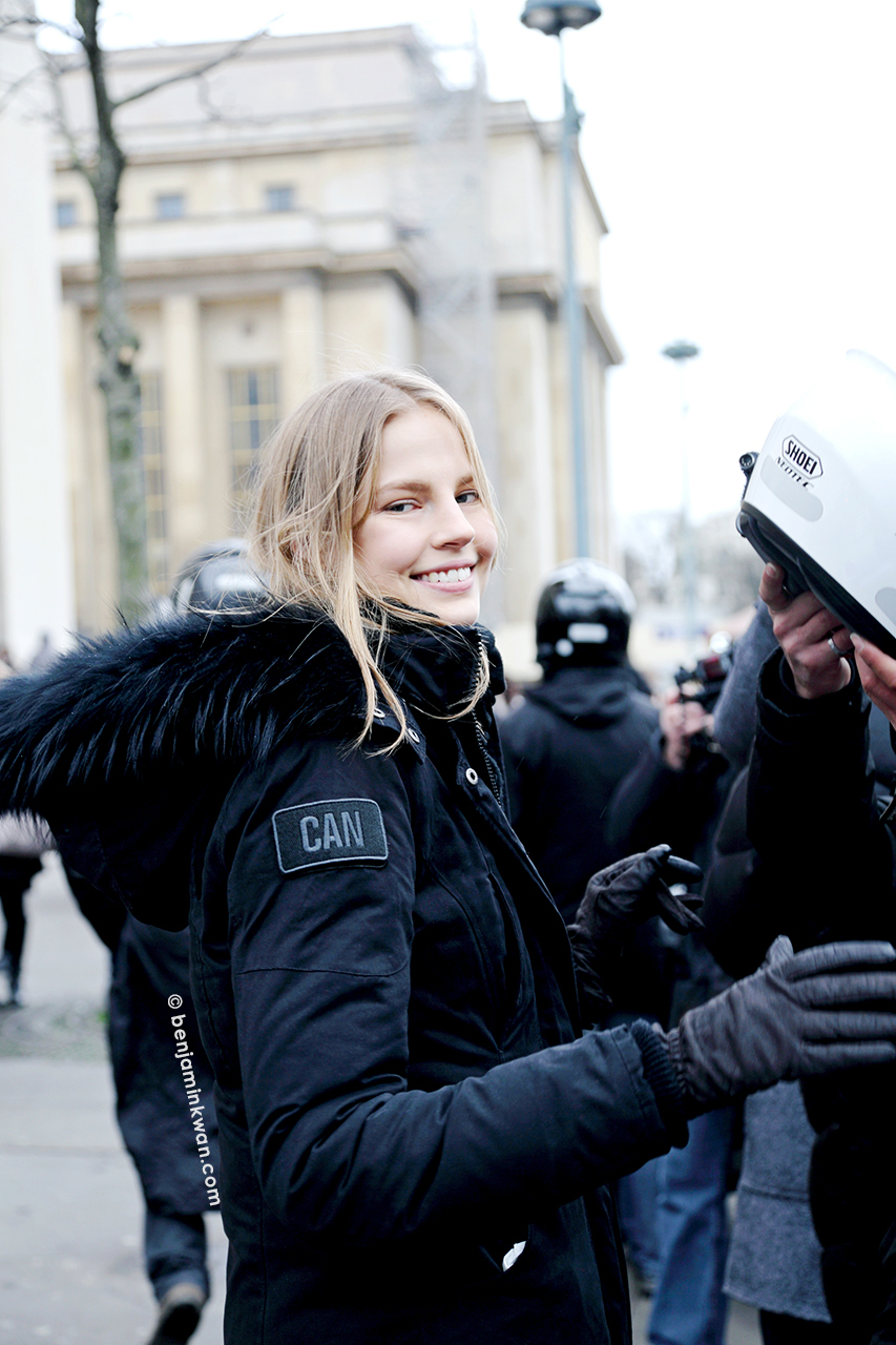 Elisabeth Erm at Sacai FW 2014 Paris Snapped by Benjamin Kwan Paris Fashion Week