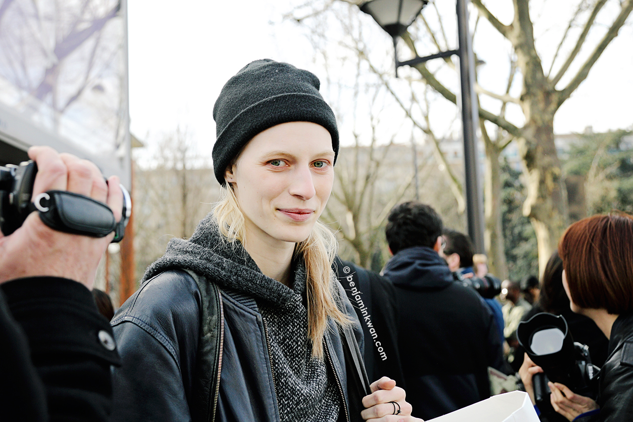 Julia Nobis at Celine FW 2014 Paris Snapped by Benjamin Kwan      Paris Fashion Week
